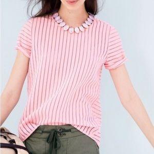 J. CREW Pastel Pink Shadow Stripe Top Size 2